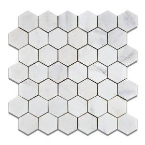 "Hexagon 2 inch, Oriental White Marble | Polished | 12""x12"" Sheet"