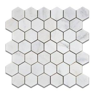 "Hexagon 2 inch, Oriental White Marble | Honed | 12""x12"" Sheet"