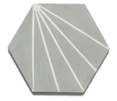 "Electra | Steel Grey, Cement Hexagon Tile | 8"" Hexagon"