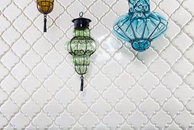 Beveled Arabesque White Subway Tile