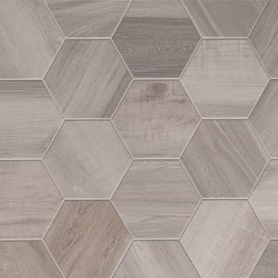 "Hexagon King White | Plain | 8"" Wood Look Tile - Mission Stone & Tile"