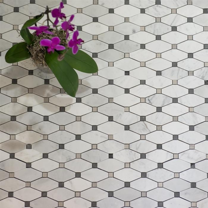 Diamond Mosaics | Carrara | Honed - Mission Stone & Tile