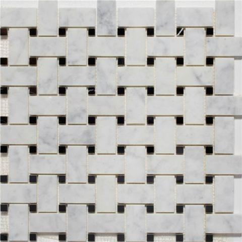 Basketweave | Bianco Carrara / Black Dot | Honed - Mission Stone & Tile