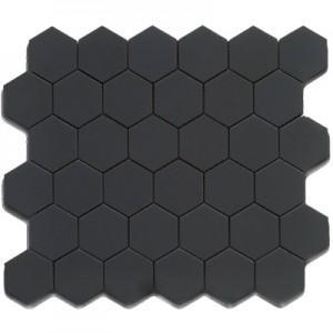 Matte Porcelain 2 Hexagon Mosaics | Black