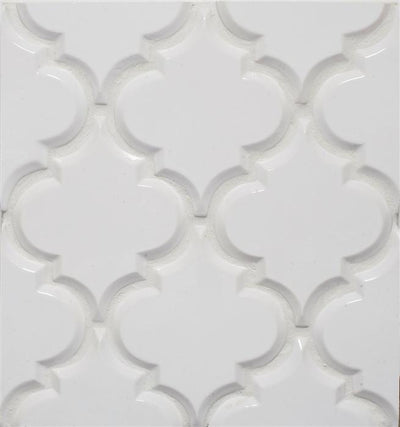 Beveled Arabesque Tile | Whisper White