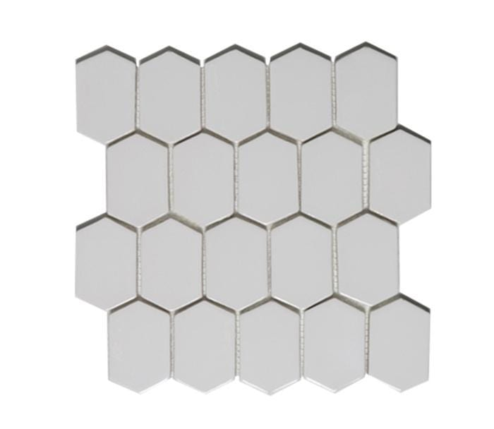 "Whisper White | Mod Picket Mosaic | The Essentials | Tile 10""x11"""