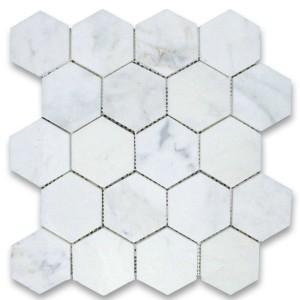 "Hexagon | Calacatta | Honed 3"" Stone Mosaic for Walls and Floors"