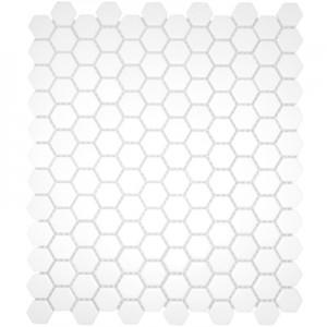 "Hexagon Mosaics | Glazed Porcelain 1"" White, Matte 