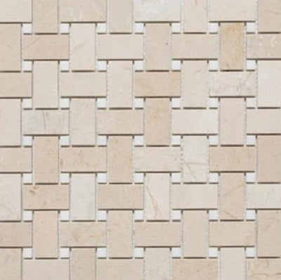 Basketweave | Crema Marfil / Thassos Dot | Polished - Mission Stone & Tile
