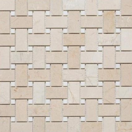 Basketweave | Crema Marfil / Thassos Dot | Polished