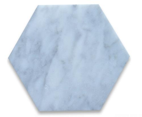"Hexagon | Marble Hex, Oriental White | Polished 8"" - Mission Stone & Tile"