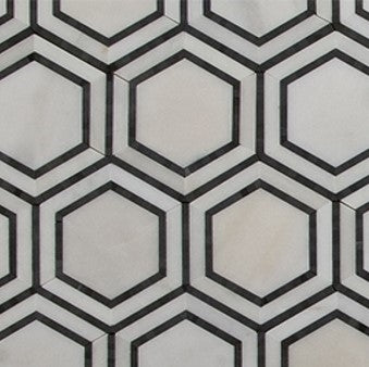 "Hex Appeal | Oriental White Marble | Basalt Grey Hexagon 5"" - Mission Stone & Tile"