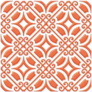 Bonne Releve | Decorative Tile | Orange on White 8x8