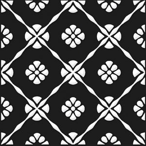 Bonne Releve | Decorative Tile | White on Black 8x8