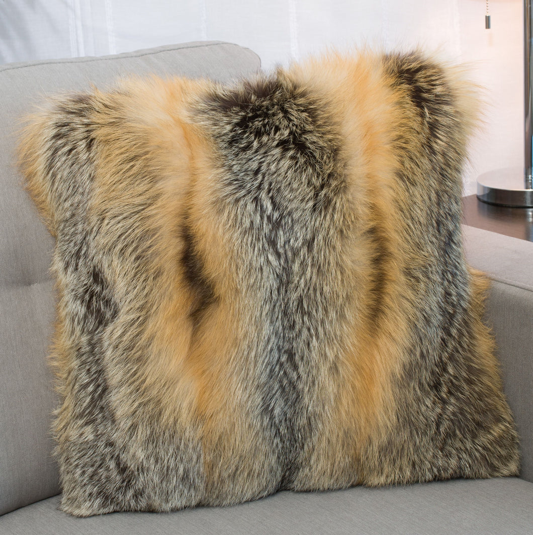 Cross Fox Fur Pillow