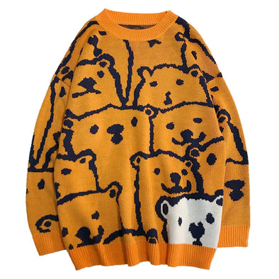 Bear Print Knitted Sweater