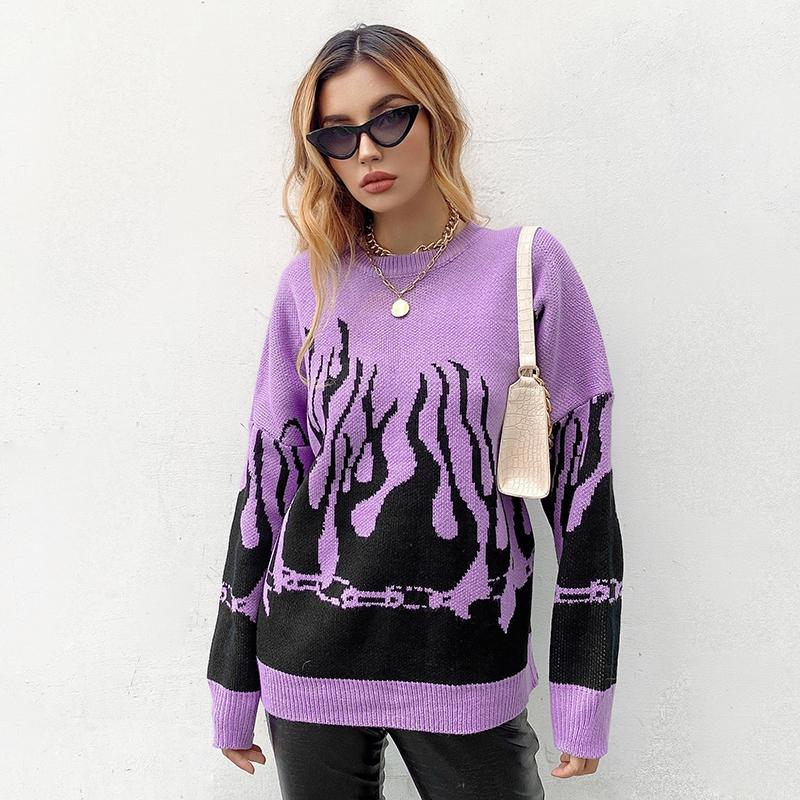Fire Flame Print Sweater