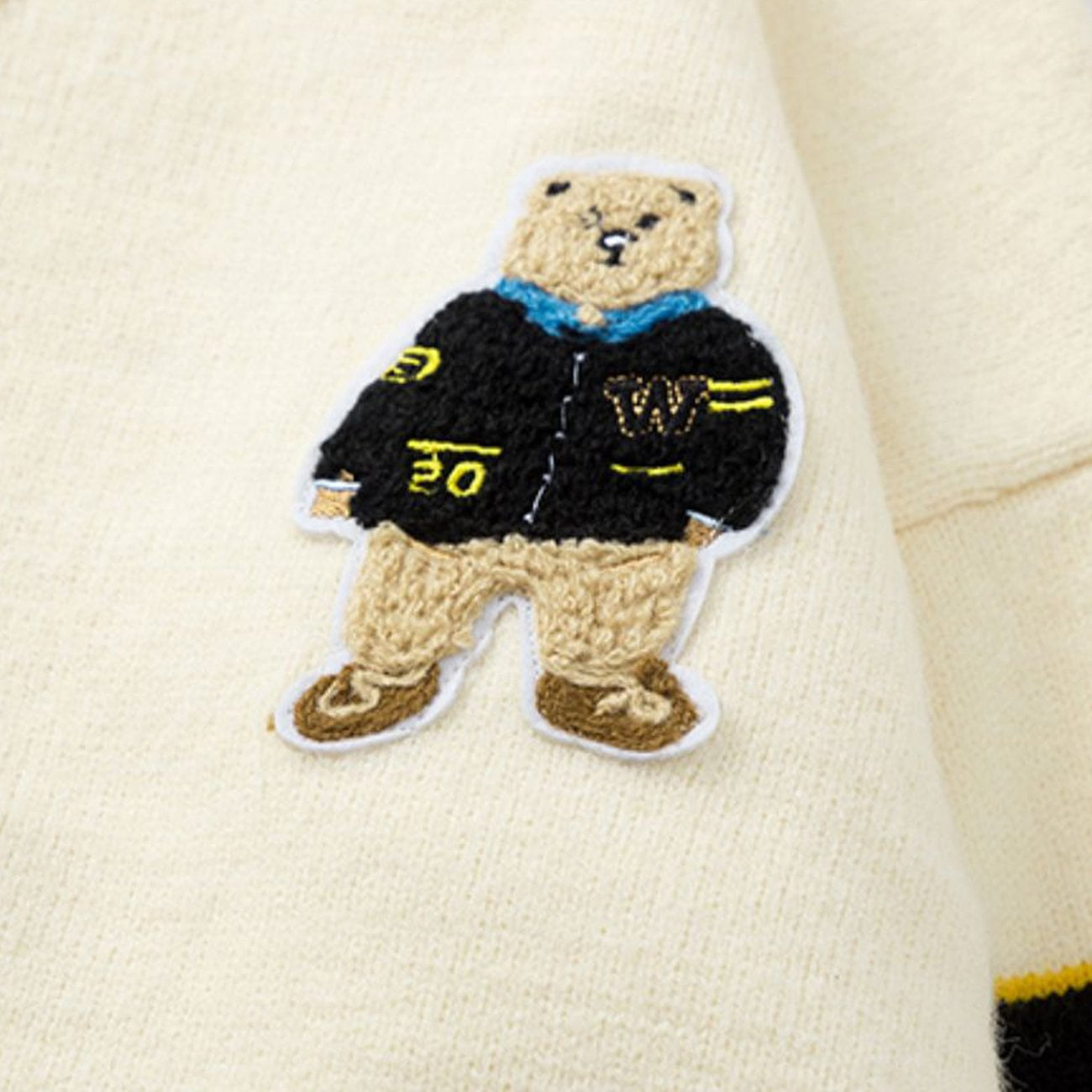Bear Embroidery Knitted Cardigan Sweater