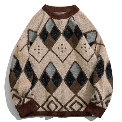 Geometry Print Knitted Sweater