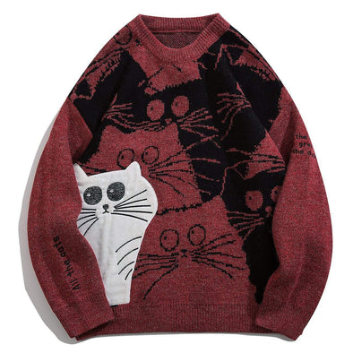 Cartoon A Group of Cats Print Knitted Sweater