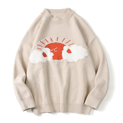 Sun Clound Print Knitted Sweater
