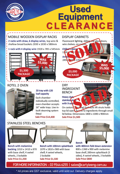 Carlyle Used Equipment Clearance Items