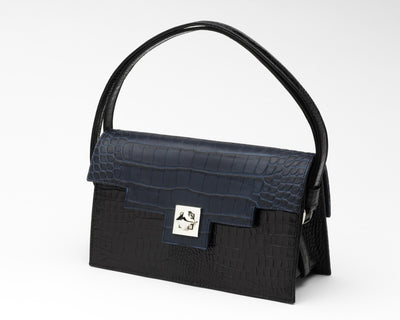 Quoin Handbag - Black Croc with Navy Flap