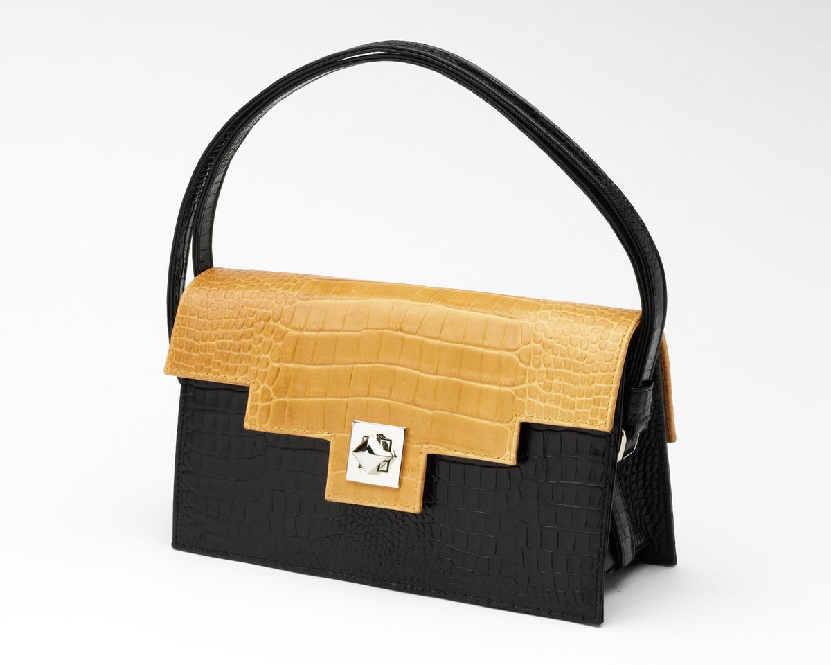 Quoin Handbag - Black Croc with Tan Flap