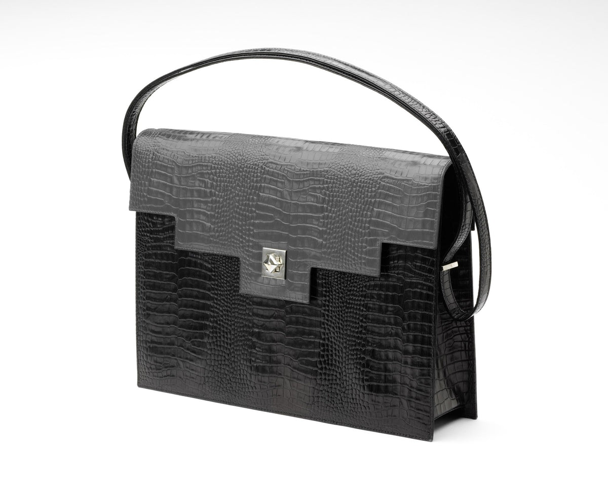 Quoin Briefcase - Black Croc with Grey Flap