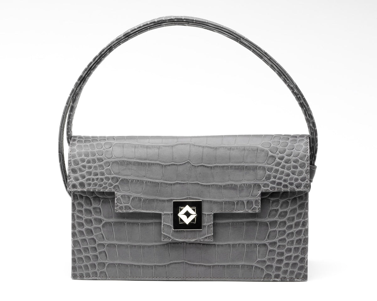 Quoin Medium Handbag in Grey