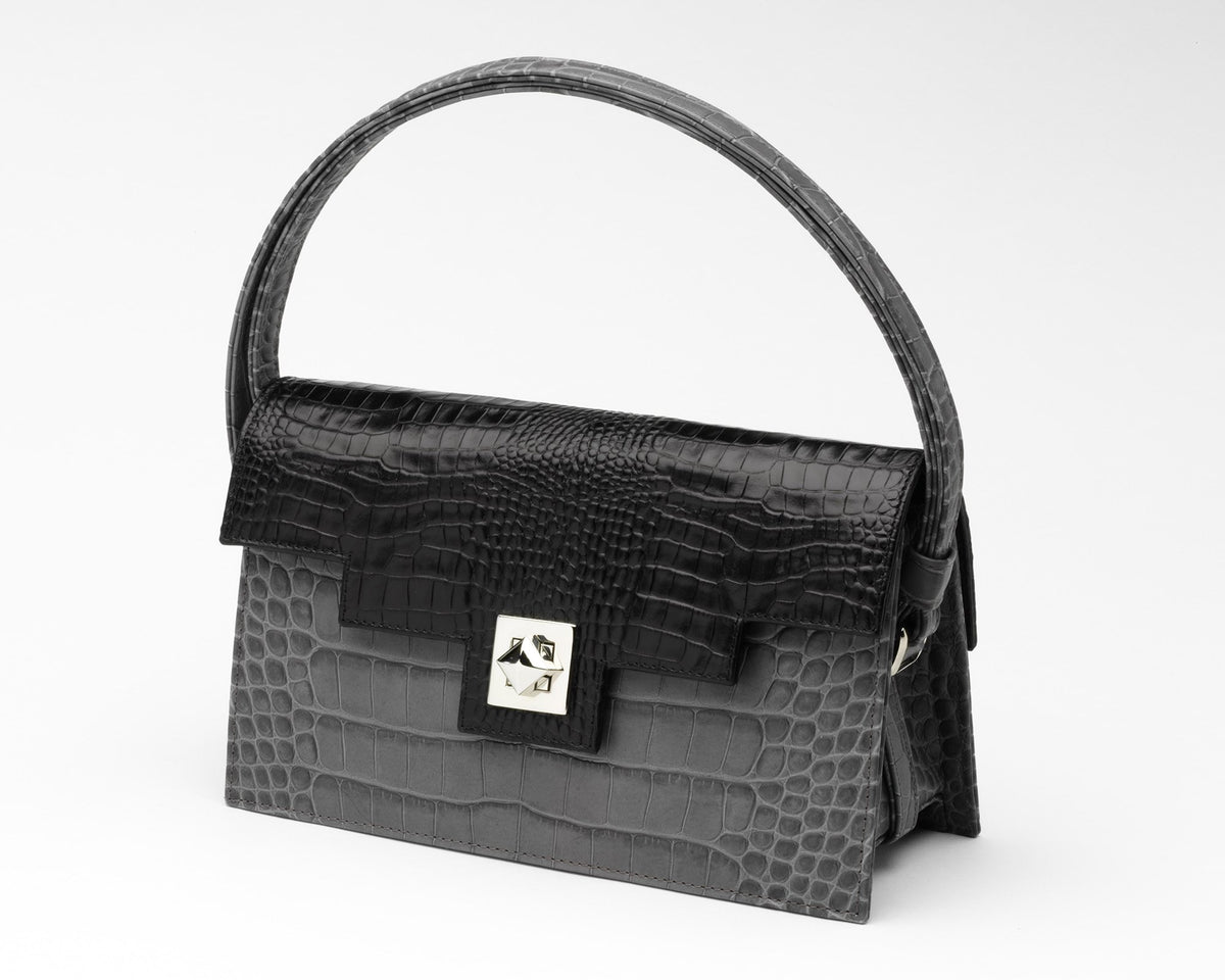Quoin Handbag - Grey Croc with Black Flap