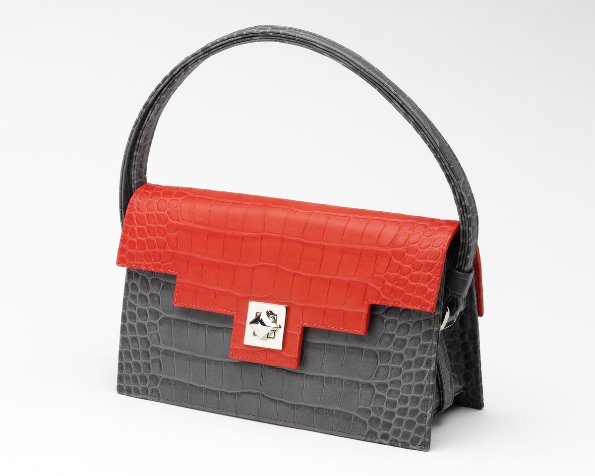 Quoin Handbag - Grey Croc with Red Flap