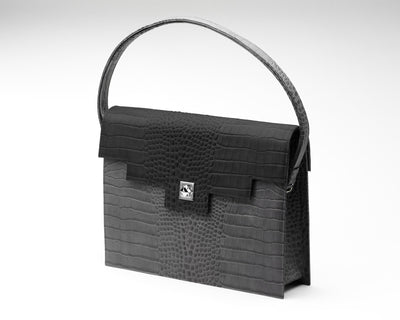 Quoin Briefcase - Grey Croc with Black Flap