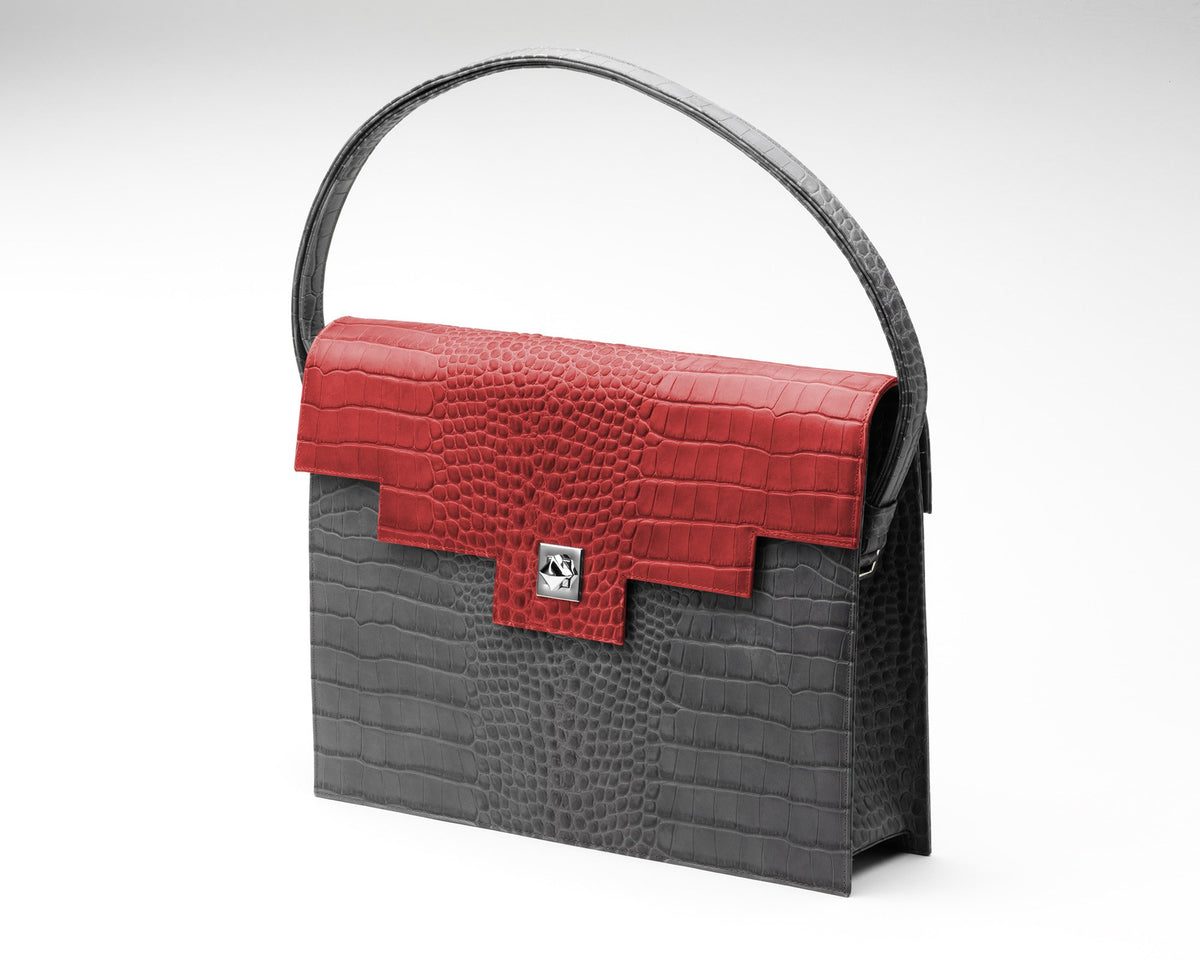 Quoin Briefcase - Grey Croc with Red Flap