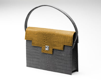 Quoin Briefcase - Grey Croc with Tan Flap
