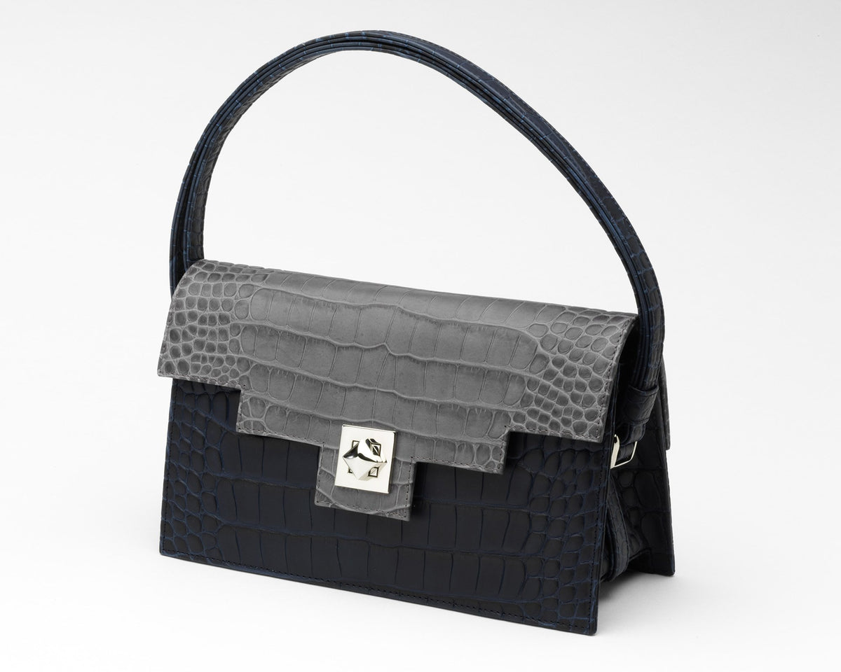 Quoin Handbag - Navy Croc with Grey Flap