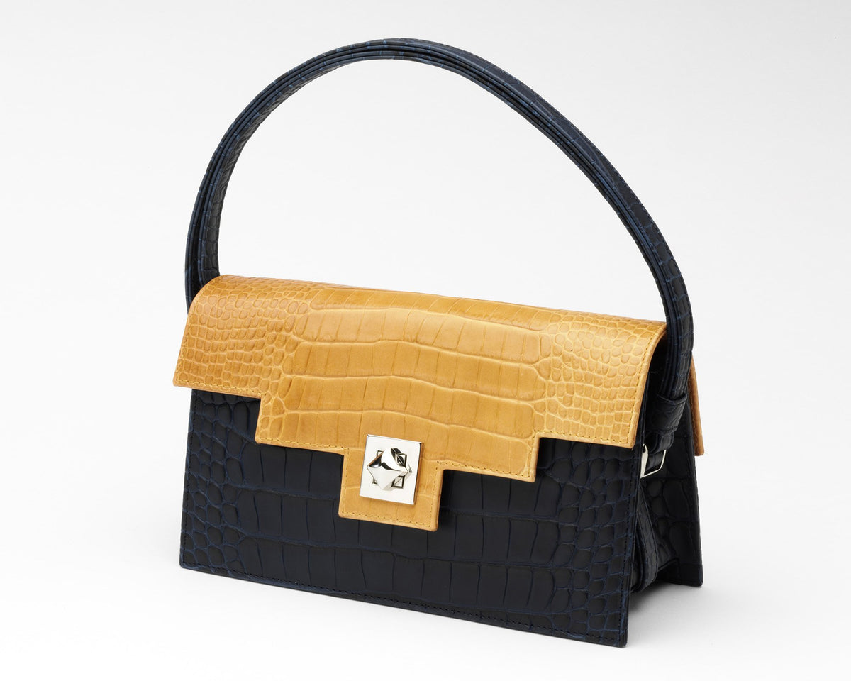 Quoin Handbag - Navy Croc with Tan Flap
