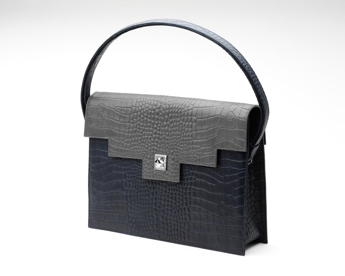 Quoin Briefcase - Navy Croc with Grey Flap
