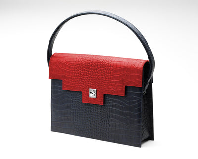 Quoin Briefcase - Navy Croc with Red Flap