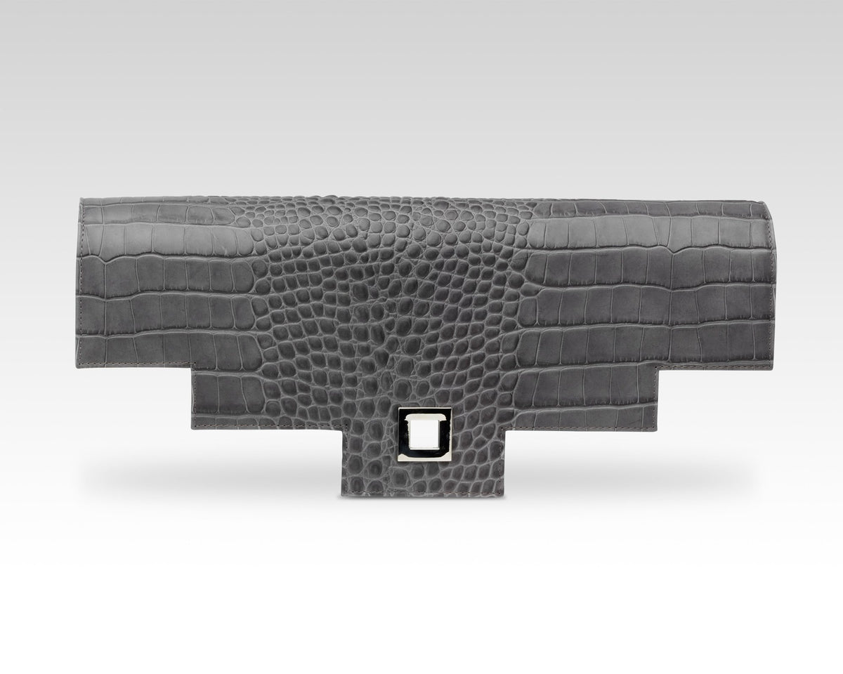 Quoin Briefcase Flap in Grey Croc