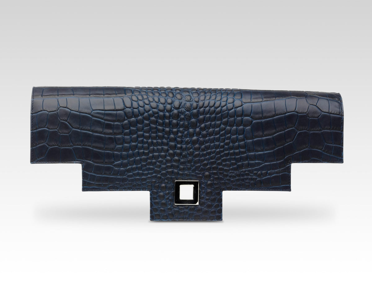 Quoin Briefcase Flap in Navy Croc