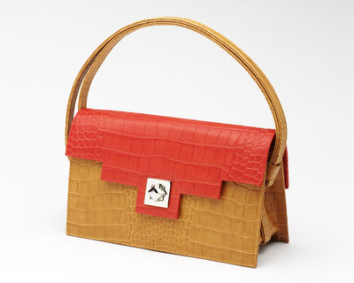 Quoin Medium Handbag in Tan with Red Flap