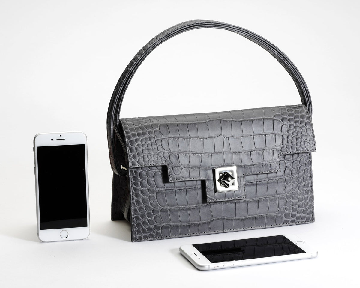 Quoin Handbag - Medium - Grey Croc with additional Flap