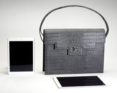 Quoin Briefcase - Grey Croc with additional Flap
