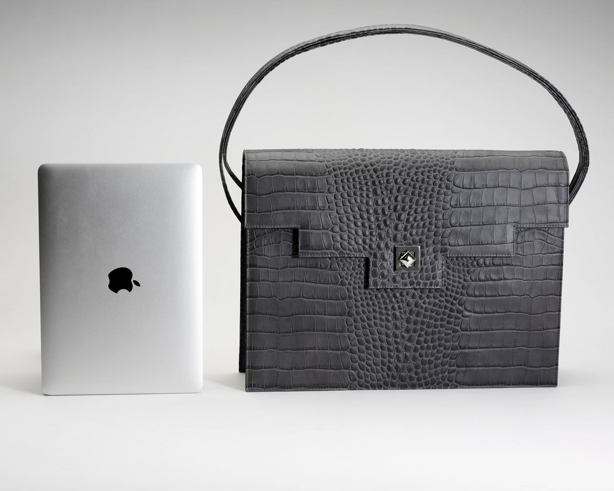 Quoin Briefcase - Black Croc with additional Flap