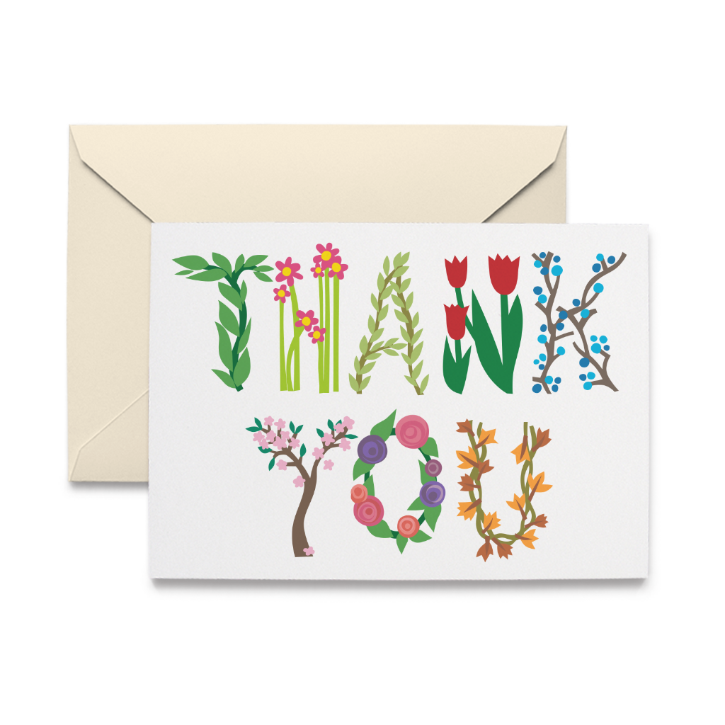 Botanical Thank You Note Cards