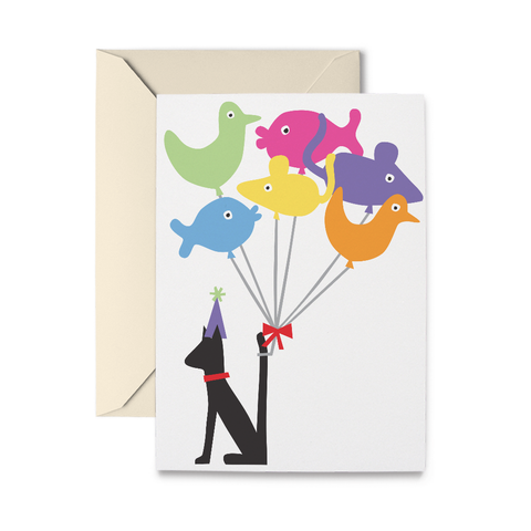 Cat & Balloons Greeting Card