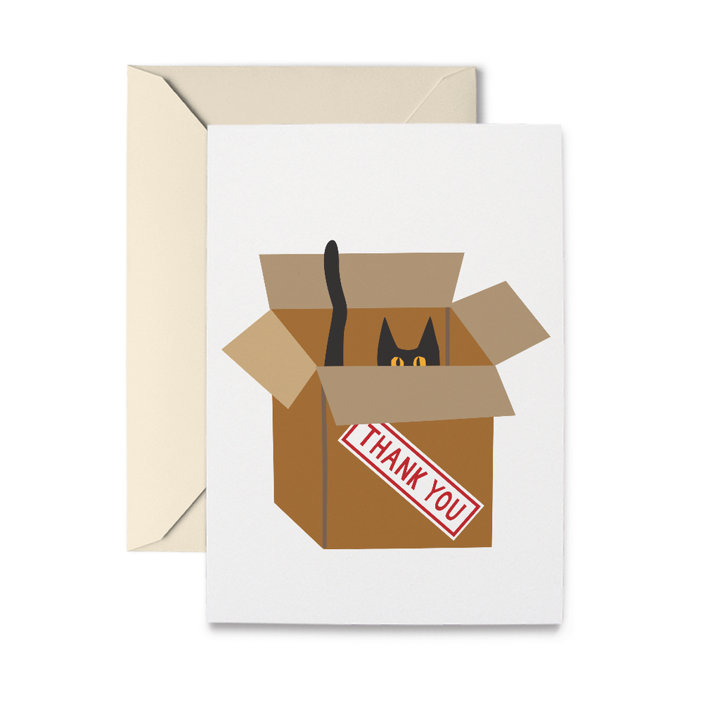Cat in Box Thank You Greeting Card