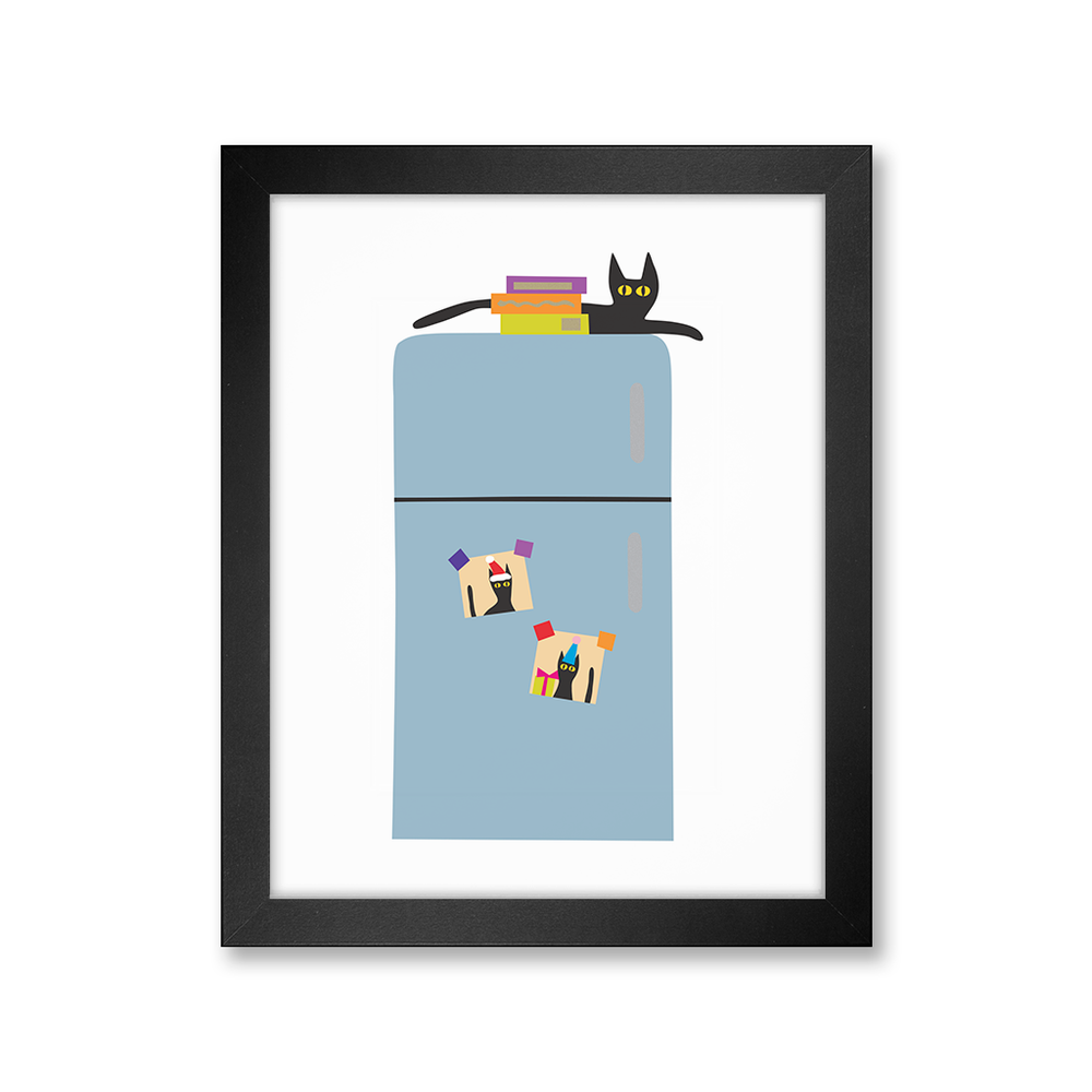 Cat on Fridge Print