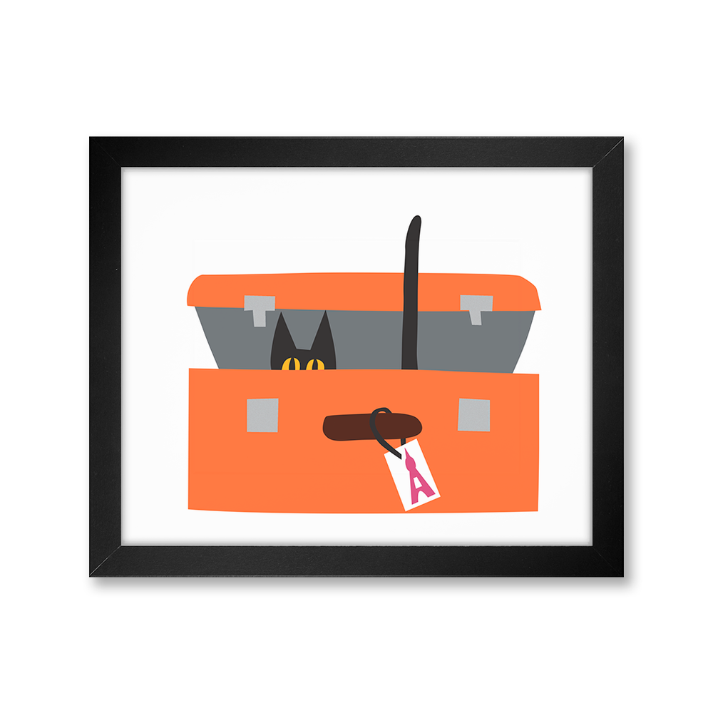 Cat in Suitcase Print
